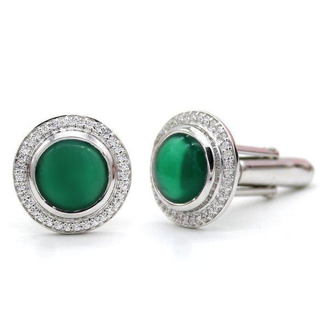 Natural Green Onyx CZ Men's Cufflink