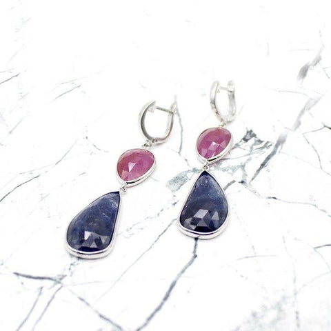 Natural Pink & Blue Sapphire Earrings
