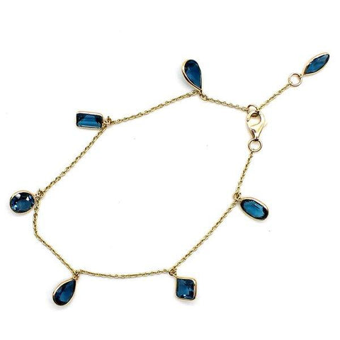 Natural London Blue Topaz Multi Shape Fine Charm Bracelet