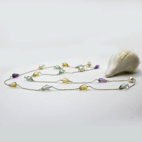 Multi stone Necklace Sterling Silver
