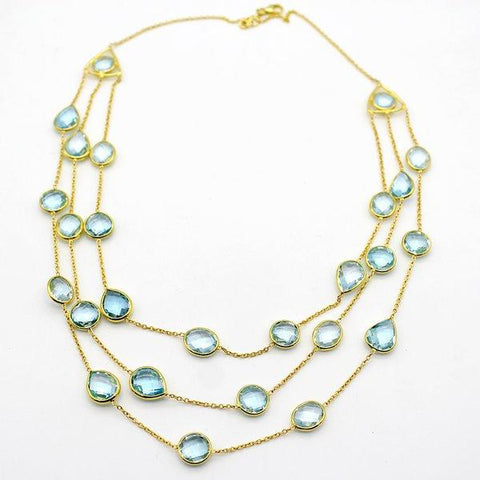 Sky Blue Topaz 3 Layer Necklace