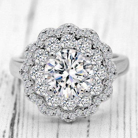 Amazing Flower Halo Diamond Ring 1.8 CT