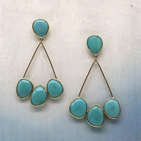 Turquoise Earrings In 18KT Gold
