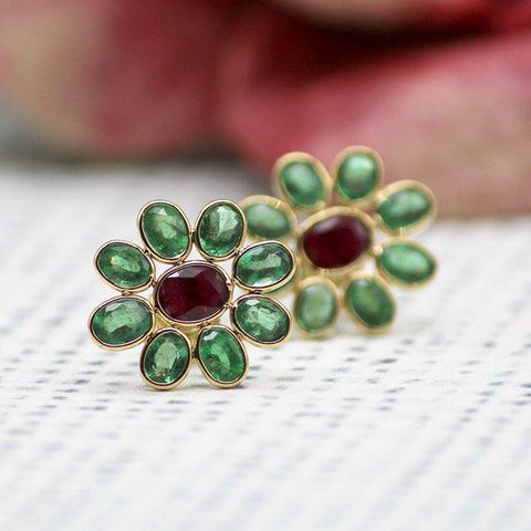 Emerald and Ruby Flower Stud Earrings