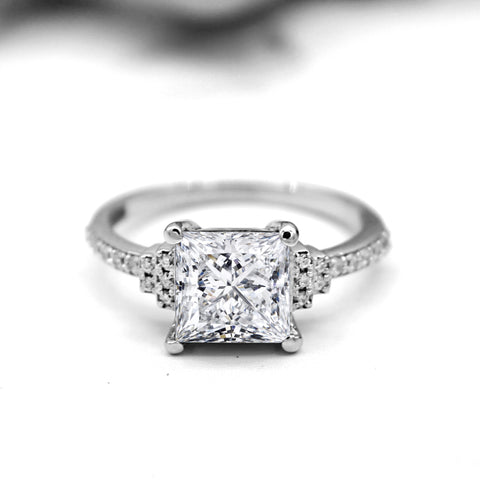 3.00 CT Classic Princess Solitaire Diamond Engagement Ring
