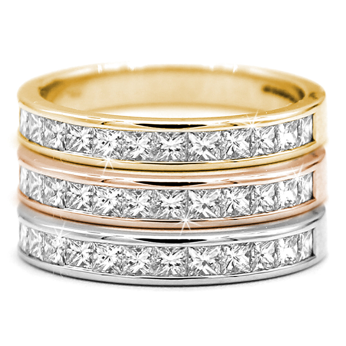 bands band white ring ladies kt round ct eternity si g color gold princess cut clarity wedding diamond in