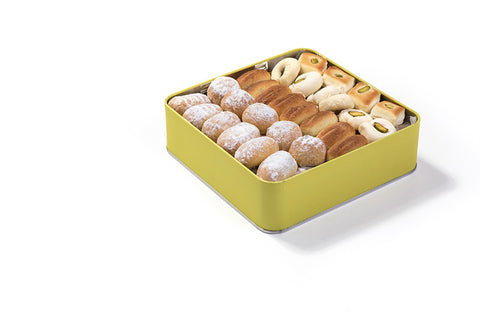 Assorted Mini Maamoul Tin Box with Maamoul, Ghraibeh and Sanyoura  1000 g box