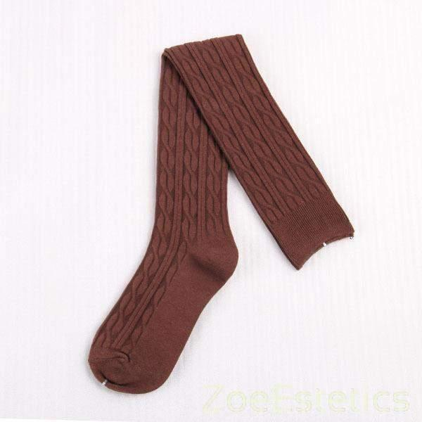 Natkoljenke s Uzorkom-Stockings-ZOEESTETICS-Coffee-ZOEESTETICS