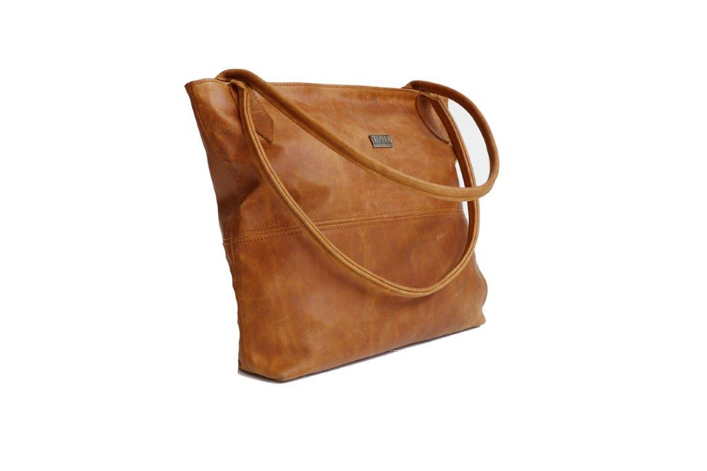 TAN Ashley Leather Handbag
