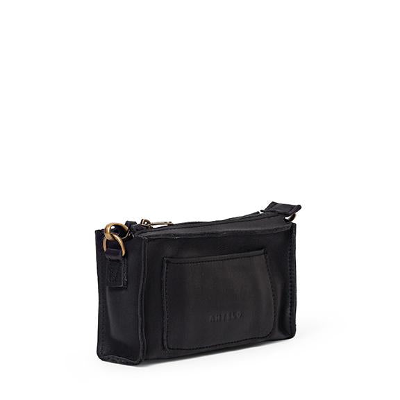 Antelo Gigi Nano Leather Wallet Sling - Black and Barcelona Tan - Zufrique Boutique