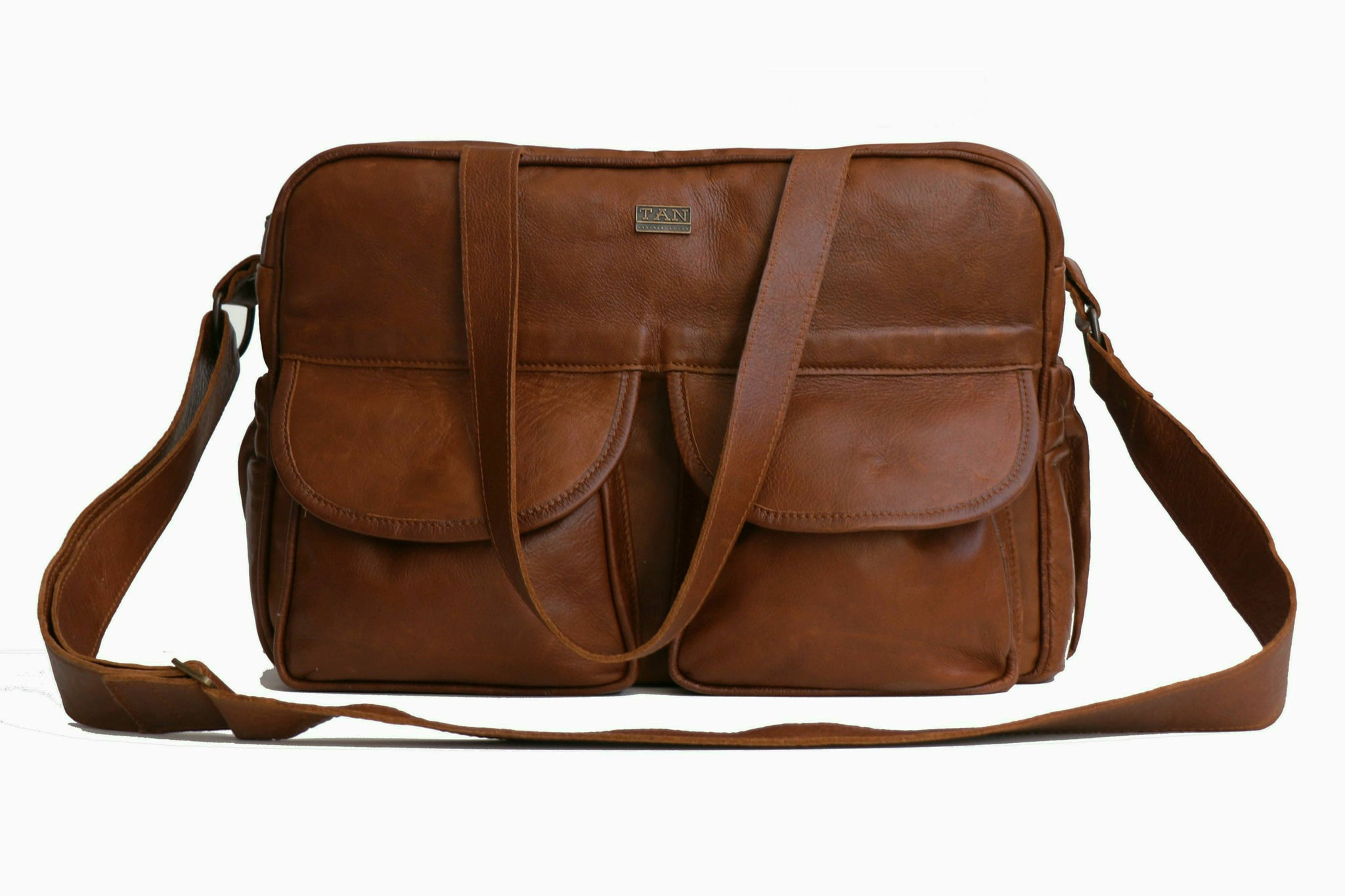 TAN Joanie Leather Nappy Bag