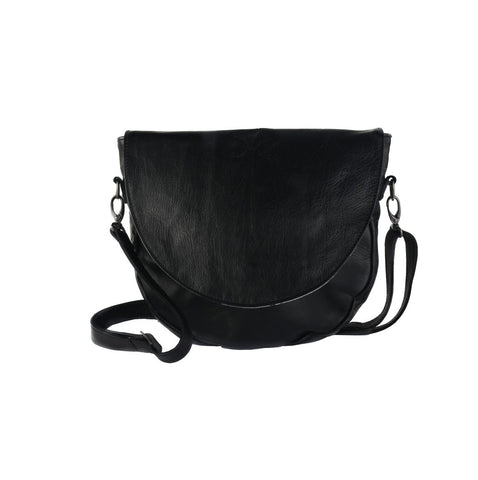Thandana Messenger Saddle Sling Bag - Black - Zufrique Boutique