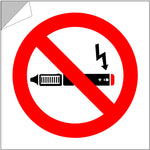 E-cigarette free zone stickers for the home, car, workplace or any smoke-free zone.