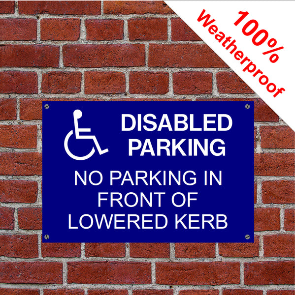 No parking in front of lowered kerb sign