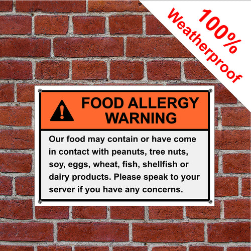 Food Allergy Warning sign or self-adhesive vinyl label sticker