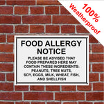 Food Allergy sign Ingredients warning notice sign