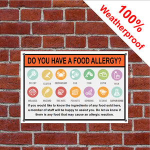 Food Allergy Warning notice sign or self-adhesive vinyl label sticker