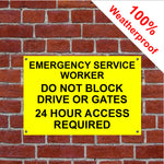Emergency worker keep clear sign in vinyl, aluminium or PVC
