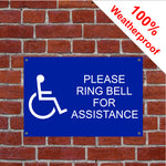 Disabled ring bell for assistance sign or sticker