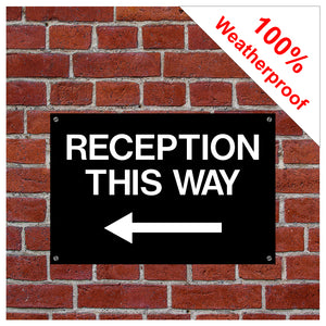 Reception this way sign with left arrow