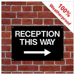 Reception this way sign with right arrow 9054