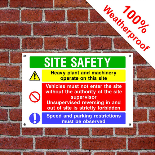 Multi message construction site safety Health and safety signs in various sizes & materials
