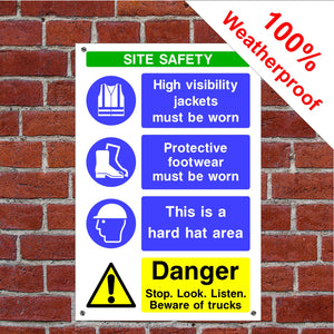 Multi message site safety Health and safety signs CONS19 in various sizes & materials