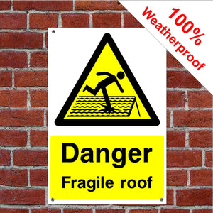 Danger fragile roof Health and safety signs CONS024 in various sizes & materials