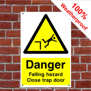 Danger trap door Health and safety sign or sticker CONS025 in various sizes & materials