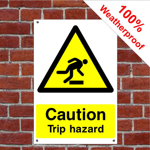 Caution trip hazard Health and safety signs CONS028 in various sizes & materials