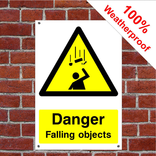 Danger falling objects Health and safety signs CONS030 in various sizes & materials