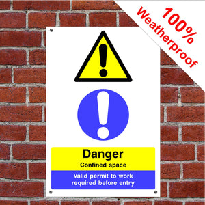 Danger confined space Health and safety signs CONS031 in various sizes & materials