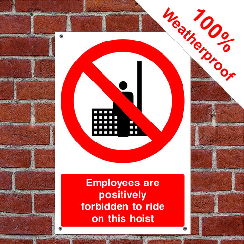 Hoist safety Health and safety signs CONS033 in various sizes & materials