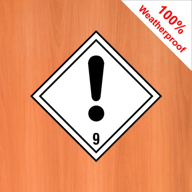 Caution 9 self adhesive vinyl sticker DANG11 in various materials and sizes