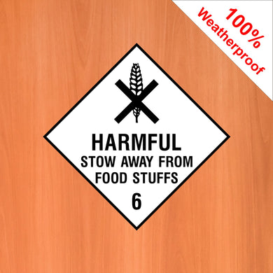 Harmful stow away from food stuffs 6 self adhesive vinyl sticker DANG12 in various materials and sizes