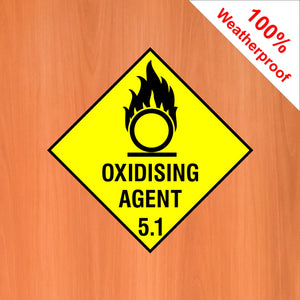 Oxidising Agent 5.1 self adhesive vinyl sticker DANG17 in various materials and sizes