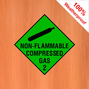 Non Flammable Compressed Gas 2 self adhesive vinyl sticker DANG22