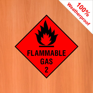 Flammable Gas 2 self adhesive vinyl sticker DANG2 in various materials and sizes