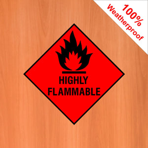 Highly Flammable self adhesive vinyl sticker DANG3 in various materials and sizes
