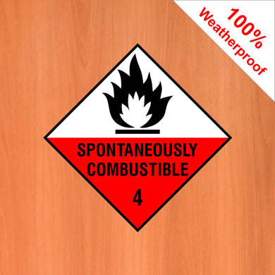 Dangerously Combustible 4 flame weatherproof vinyl sign DANG15 in various materials and sizes