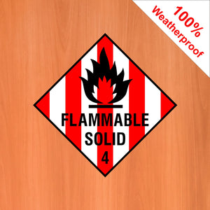 Flammable Solid 4 self adhesive vinyl sticker DANG6