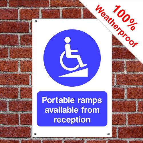 Portable ramp available from reception Health and safety signs