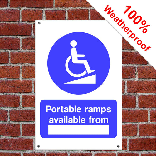 Portable ramp available from Health and safety signs