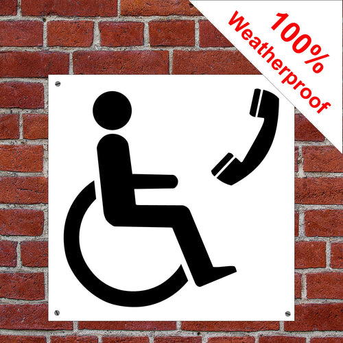 Telephone disabled access Health and safety signs