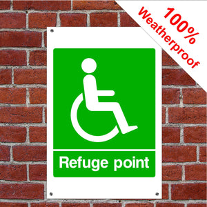 Disabled refuge point Health and safety signs