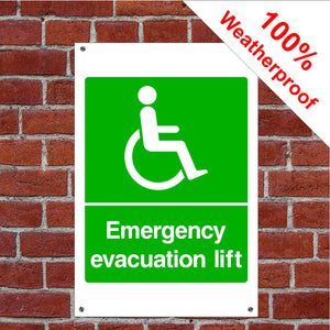 Disabled Emergency lift Health and safety signs