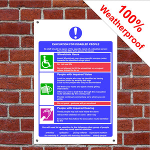 Evacuation plan for disabled people Health and safety signs