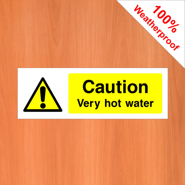 Caution very hot water self-adhesive vinyl sticker food hygiene/safety FOO52