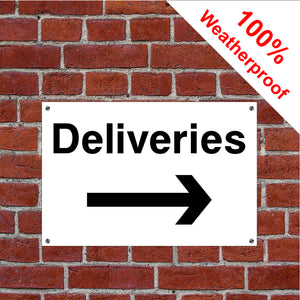 Deliveries with right arrow hotel safety sign or sticker