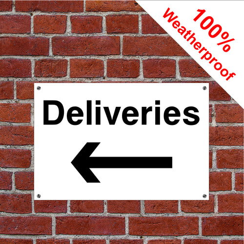 Deliveries with left arrow hotel safety sign or sticker